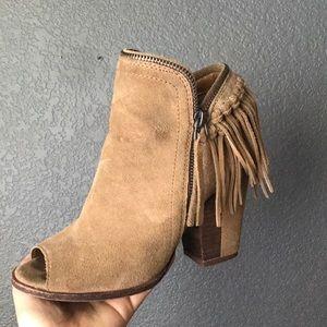 High heel booties with fringe